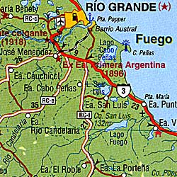 Tierra Del Fuego, Road and Physical Travel Reference Map, Argentina and Chile.