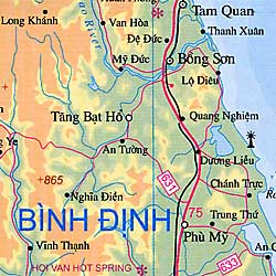 Vietnam Road and Physical Travel Reference Map.