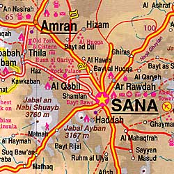 Oman and Yemen Road and Physical Travel Reference Map.