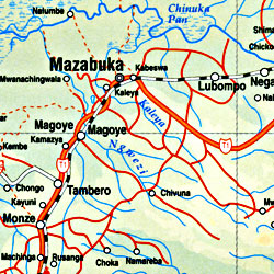 Zambia Road and Physical Travel Reference Map.