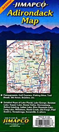 Adirondack Road and Tourist Map, New York, America.