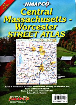 Massachusetts, CENTRAL, Street ATLAS, Massachusetts, America.