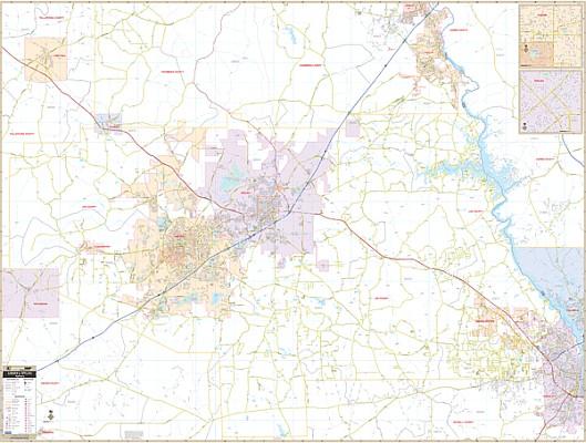 Auburn and Opelika WALL Map, Alabama, America.