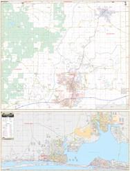 Fort Walton & Crestview WALL Map, America.