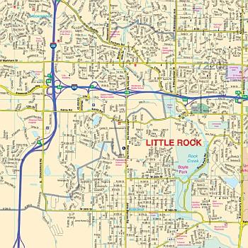 Little Rock WALL Map, America.