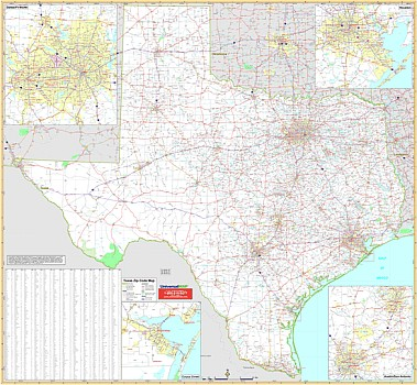 Texas WALL Map with (Zip Codes).