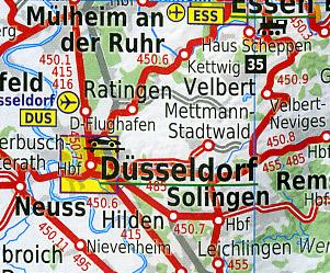 Germany Rail Travel Tourist Map.
