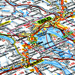 Norway Road and Shaded Relief Tourist Map.