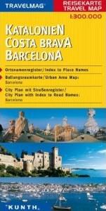 Catalonia (Catalunya), Costa Brava & Barcelona, Road and Tourist Map, Spain.