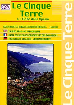 Cinque Terre, Road and Shaded Relief Tourist Map.