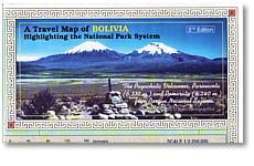 Bolivia National Parks, Road and Tourist Map.