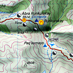 Inca Trail and Sacred Valley, Road and Topographic Map (Machu Picchu), Peru.