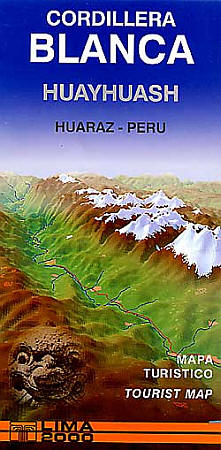 Cordillera, Blanca and Huayhuash, Road and Recreation Map, Peru.