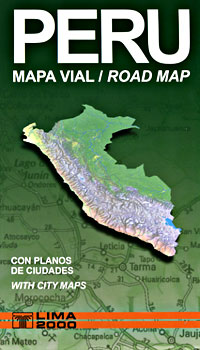 Peru Road and Shaded Relief Tourist Map.
