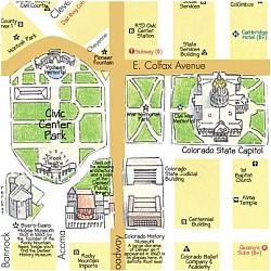 DENVER Illustrated Pictorial Guide Map, Colorado, America.