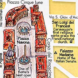 Rome Illustrated Pictorial Guide Map, Lazio, Italy.