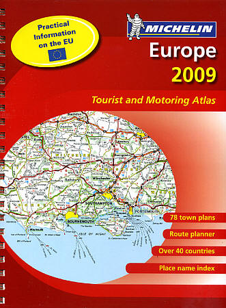 "Europe ""Motoring"" Road and Shaded Relief Tourist ATLAS."
