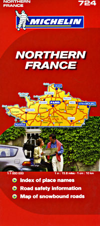 France Northern Road and Shaded Relief Tourist Map.