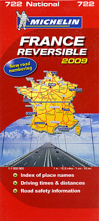 """Michelin France """"Reversible"""" Road Map, Travel, Tourist, Detailed."""