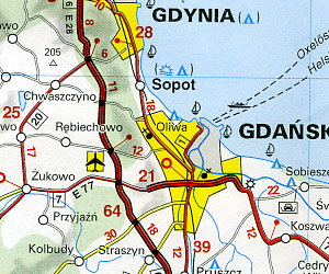 Poland Road and Shaded Relief Tourist Map.