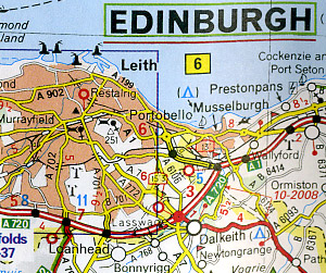 Scotland Road and Shaded Relief Tourist Map, United Kingdom.