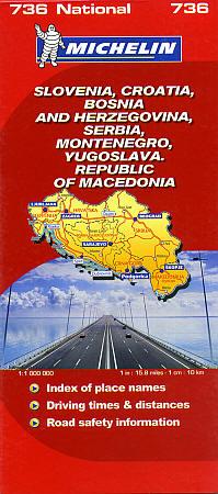 Slovenia, Croatia, Bosnia and Herzegovina, Road and Tourist Map.