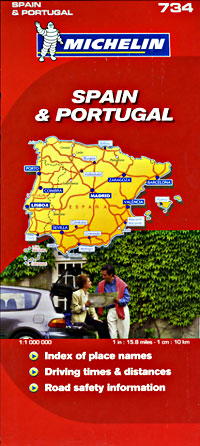 Spain and Portugal Road and Tourist Map.
