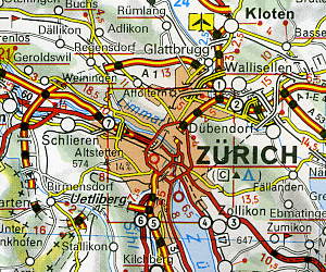 Switzerland Road and Shaded Relief Tourist Map.