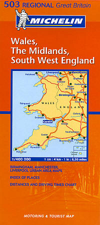 Wales, The Midlands and South West England #503 Regional Road and Tourist Map.