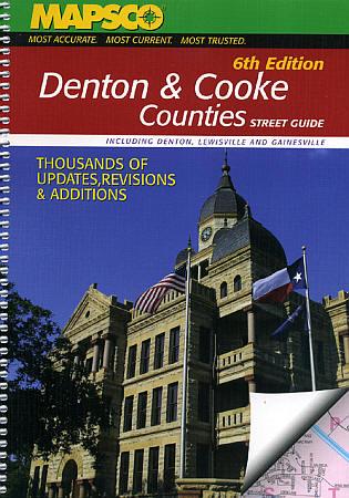 Denton and Cooke Counties Street ATLAS, Texas, America.