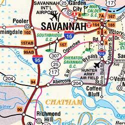 Georgia Road and Tourist Map, America.