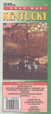 Kentucky Road and Tourist Map, America.
