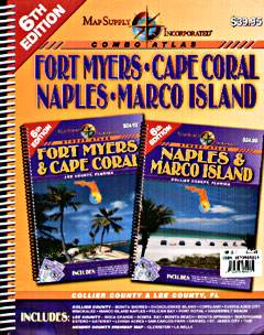 Fort Myers, Cape Coral, Naples, and Marco Island Street ATLAS, Florida, America.