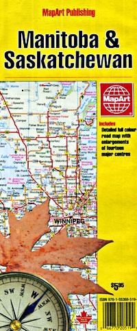 Manitoba and Saskatchewan Provinces Road and Tourist Map, Canada.
