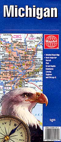 Michigan Road and Tourist Map, America.