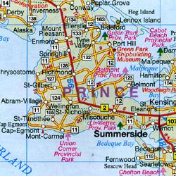 Nova Scotia Tourist Road Map, Canada.
