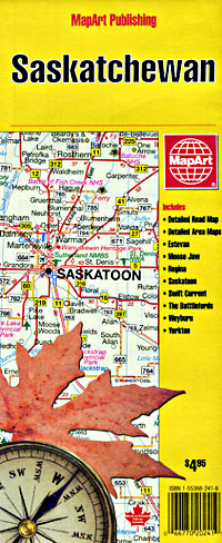 Saskatchewan Province, Road and Tourist Map, Canada.