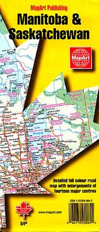 Saskatchewan & Manitoba Provinces Road and Tourist Map, Canada.