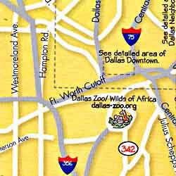 DALLAS Illustrated Pictorial Guide Map, Texas, America.