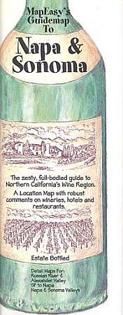 Napa and Sonoma Illustrated Pictorial Guide Map, California, America.