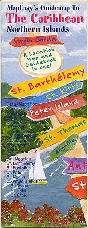 The Caribbean ~ Northern (Western) Islands, Illustrated Pictorial Guide Map.