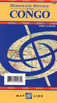 Congo Democratic Republic, Road and Tourist Map.