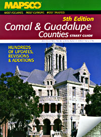 Comal and Guadalupe Counties Street ATLAS, Texas, America.