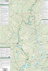 Allagash Wilderness Waterway North Road and Recreation Map, Maine, America.
