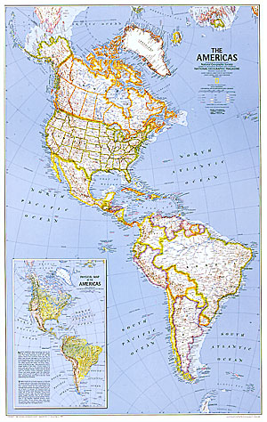 The Americas, North, Central and South WALL Map.