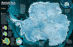 Antarctica Satellite WALL Map.