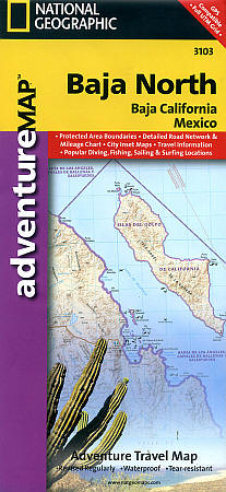 Baja California North Adventure, Road and Tourist Map, Mexico.