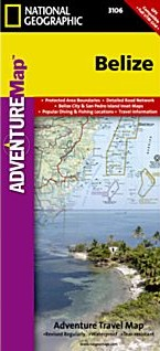 Belize Adventure Road and Tourist Map.