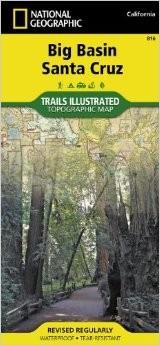 Big Basin, Santa Cruz Trails Illustrated National Park, Road and Topographic Map.