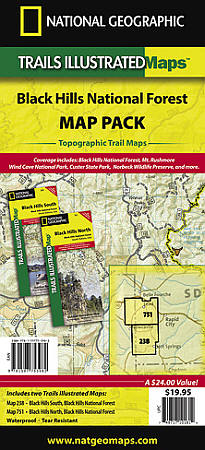 "Black Hills ""Bundle"" National Forest, Road and Recreation Map, South Dakota, America."